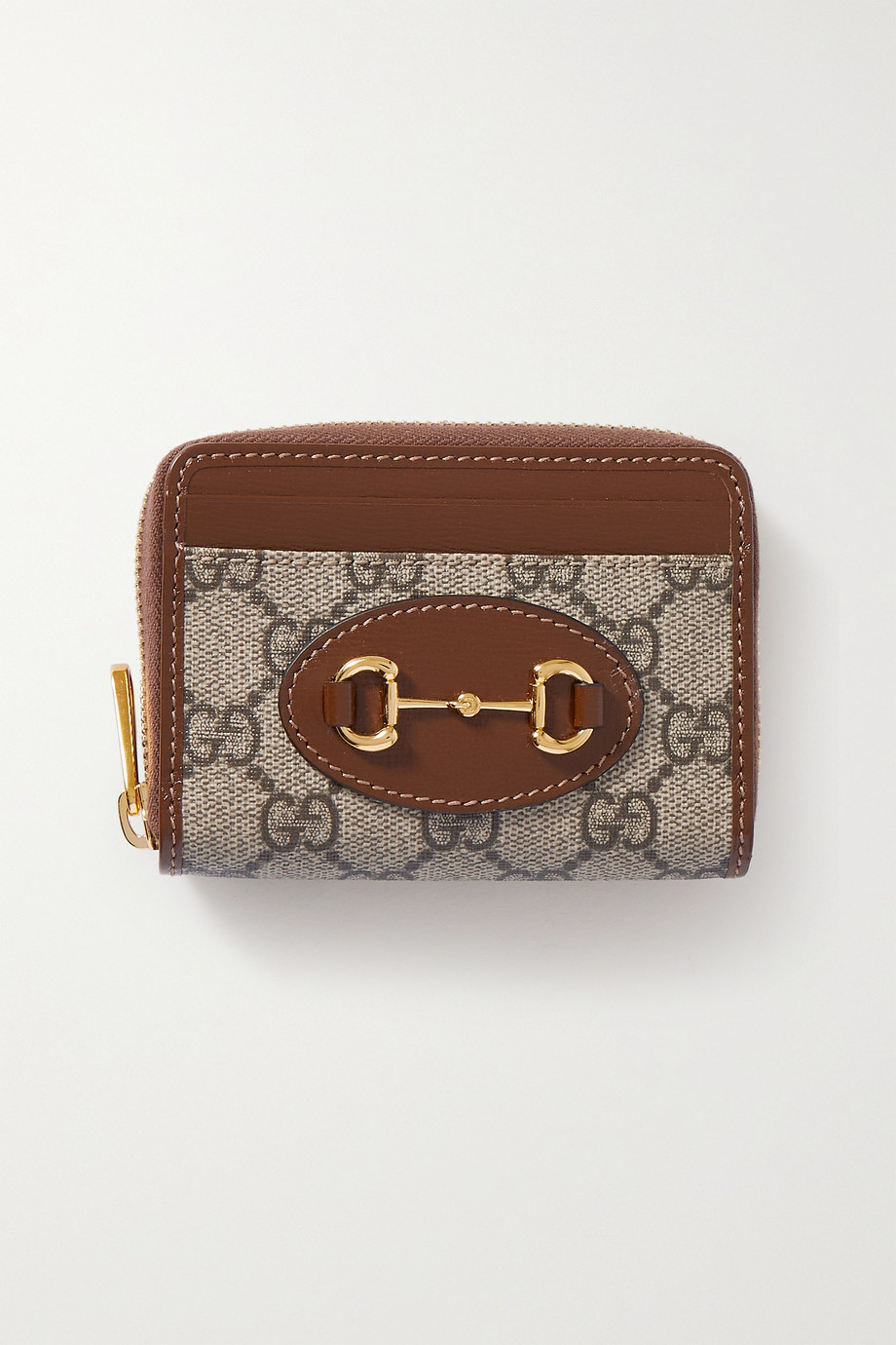 Gucci Horsebit 1955 small leather-trimmed printed coated-canvas cardholder
