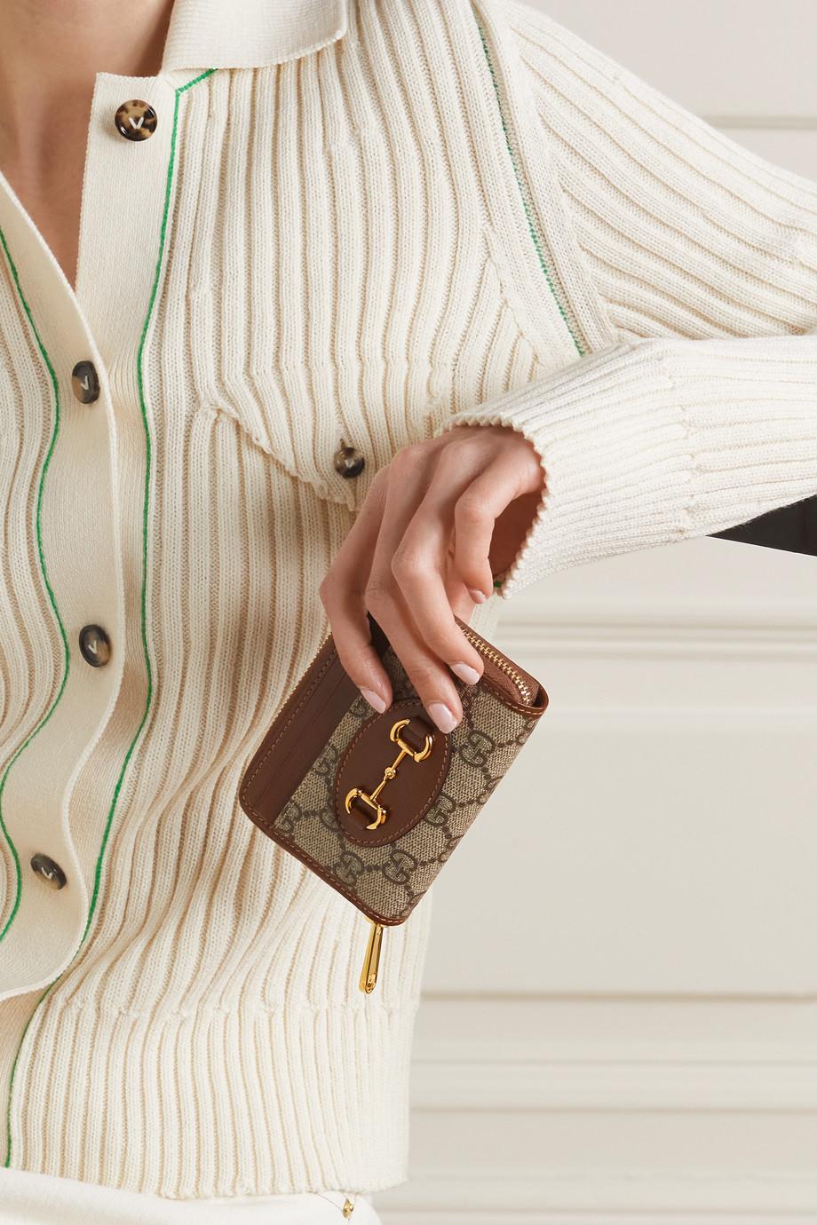 Gucci Porte-cartes en toile enduite imprimée à finitions en cuir 1955 Horsebit Small