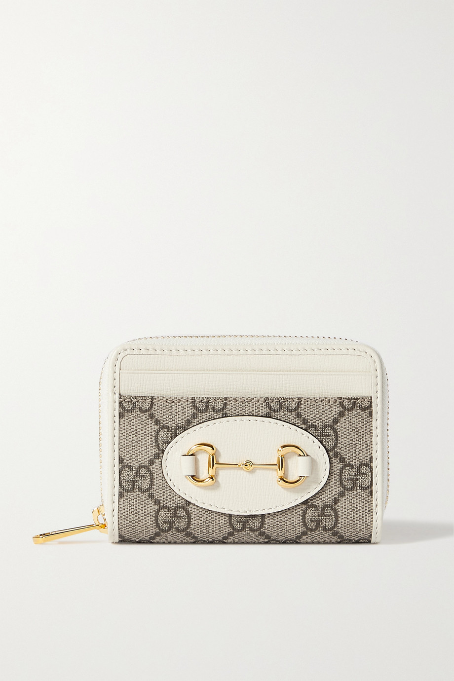Gucci 1955 Horsebit small leather-trimmed printed coated-canvas cardholder