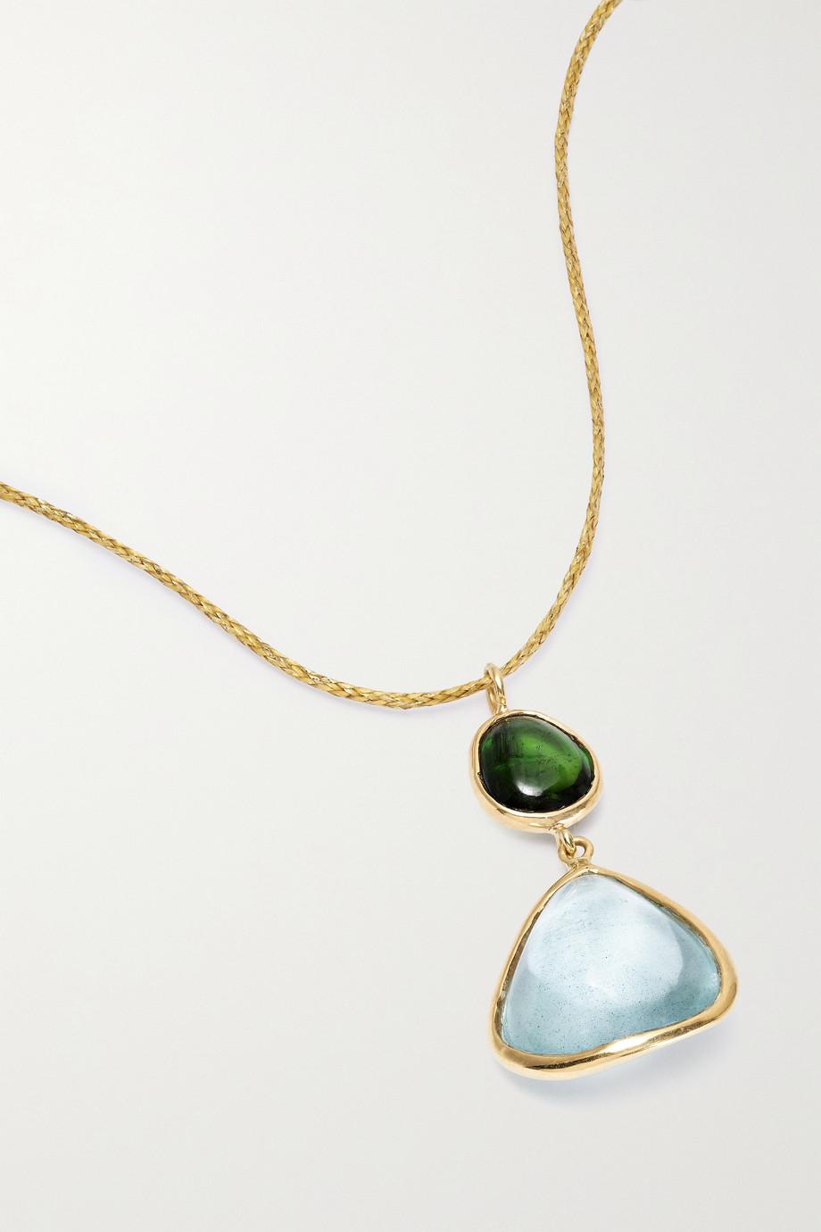 Pippa Small Kette aus 18 Karat Gold mit Turmalin und Aquamarin