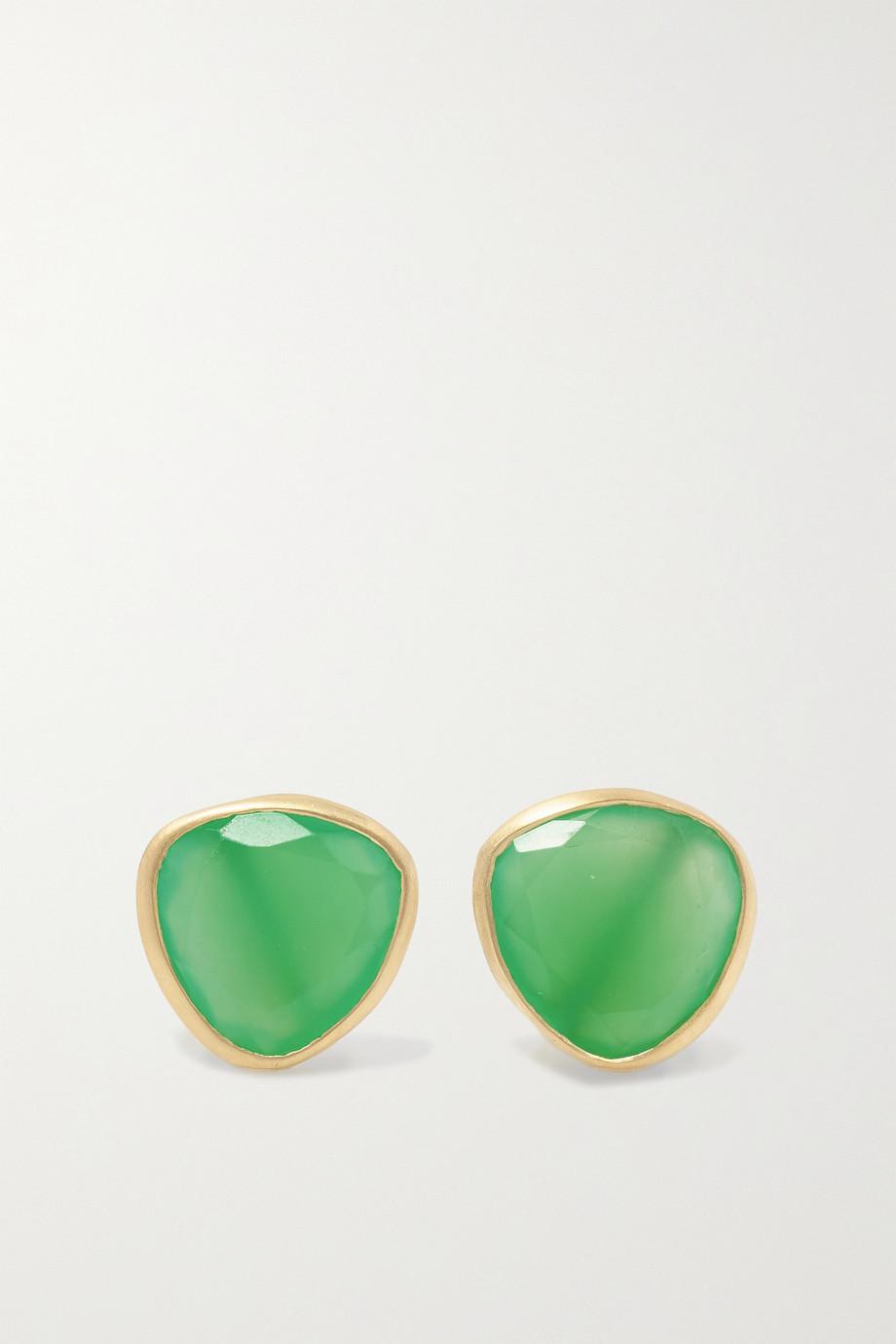 Pippa Small Large Classic 18-karat gold chrysoprase earrings