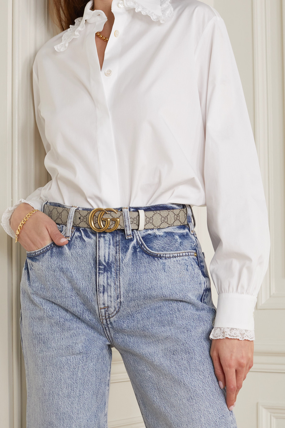 Gucci Reversible leather and printed coated-canvas belt