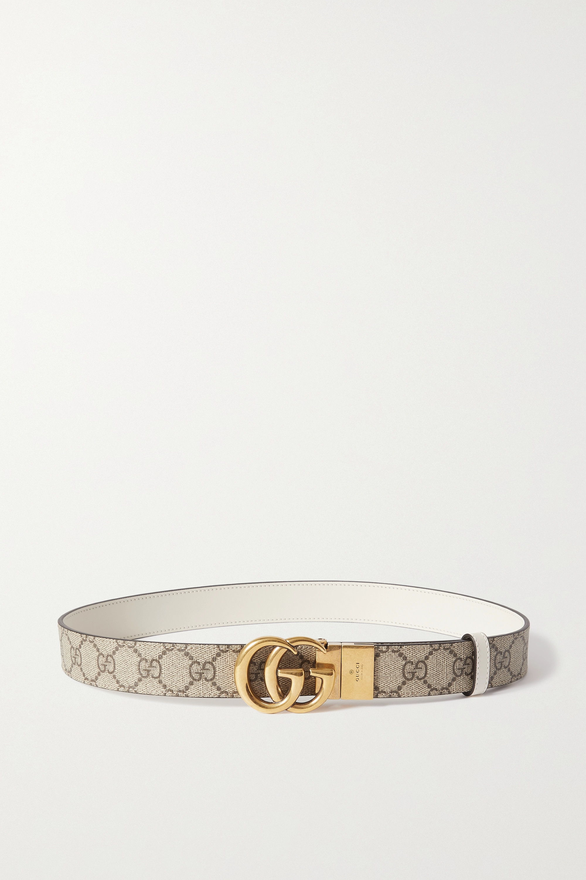 Gucci - Reversible leather and printed coated-canvas belt