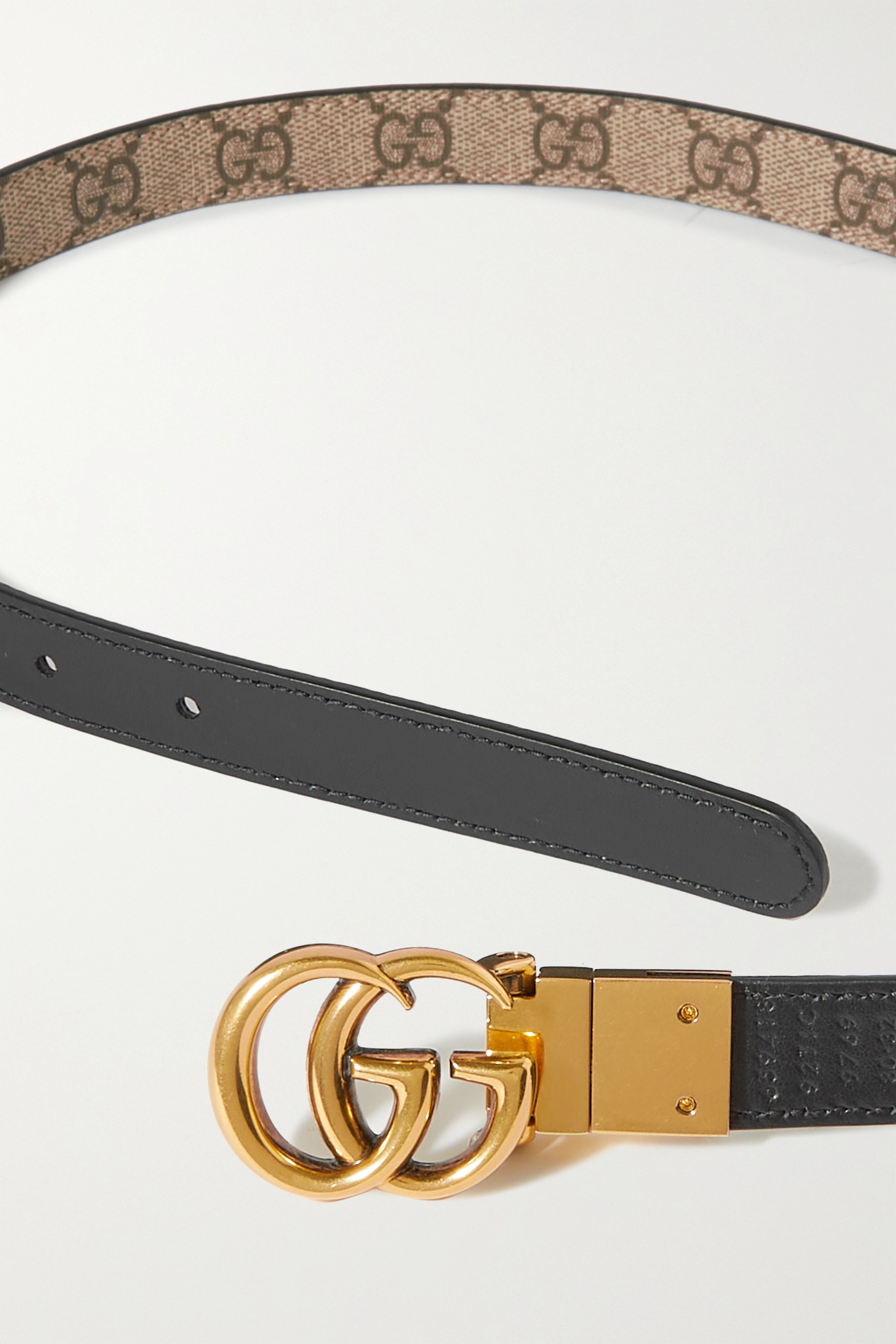 Gucci Reversible printed coated-canvas and leather belt