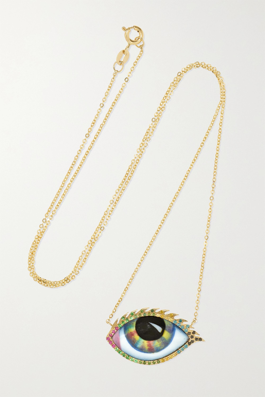 Lito Tu Es Partout Kette aus 14 Karat Gold mit Emaille und mehreren Steinen