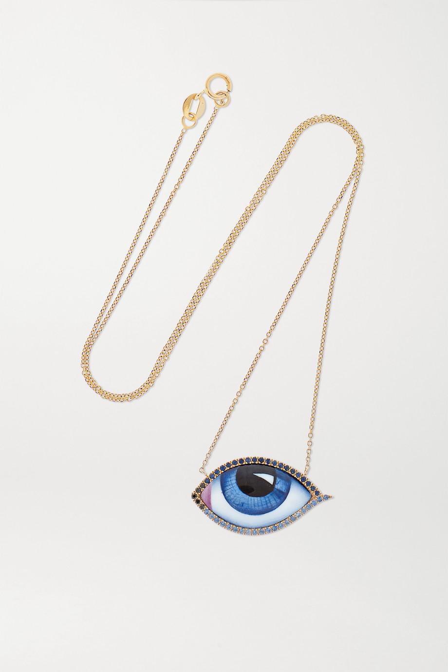 Lito Tu Es Partout Kette aus 14 Karat Gold mit Emaille, Diamanten und Saphiren