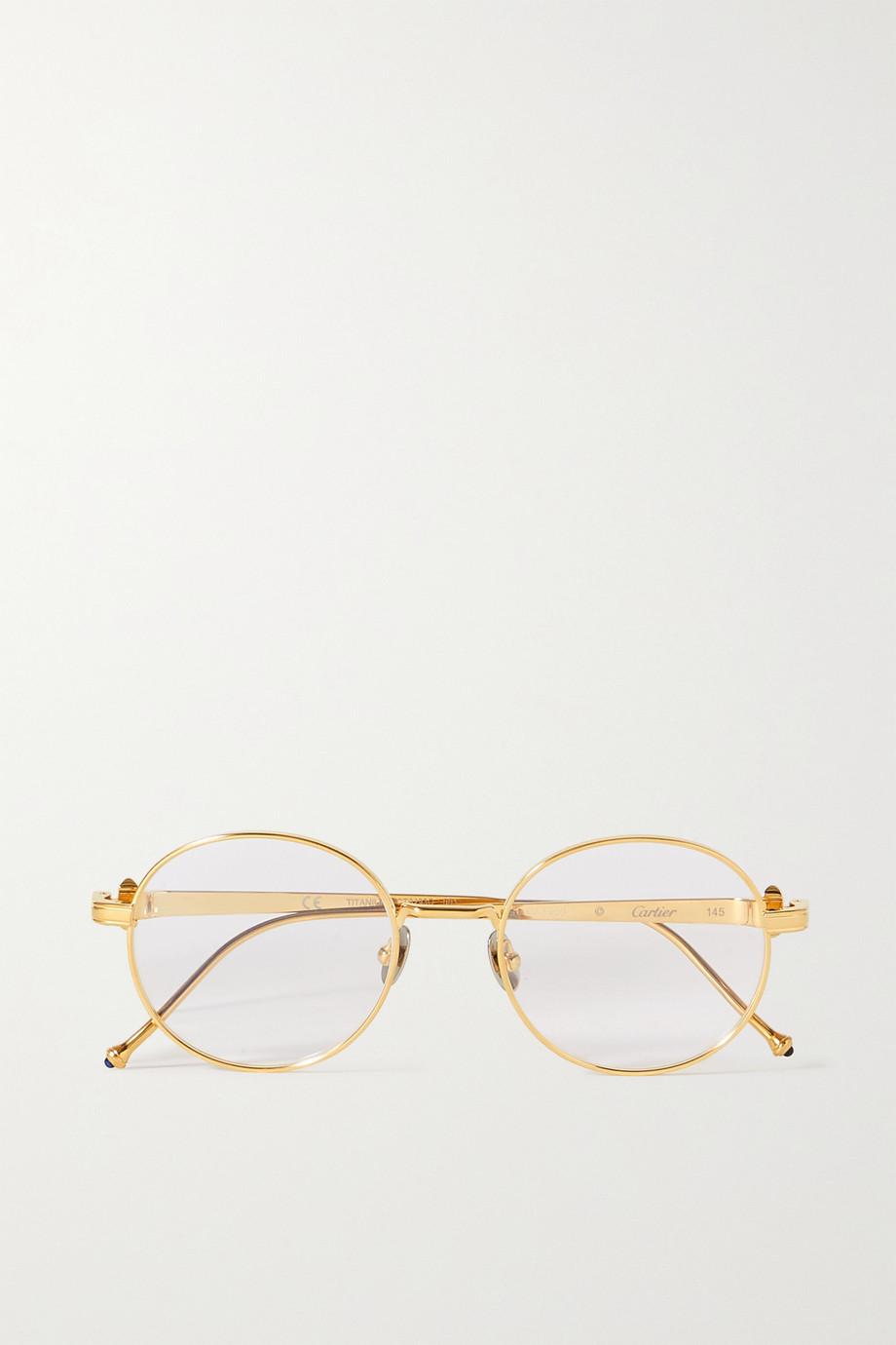 Cartier Eyewear Lunettes de vue rondes en métal doré Pasha de Cartier