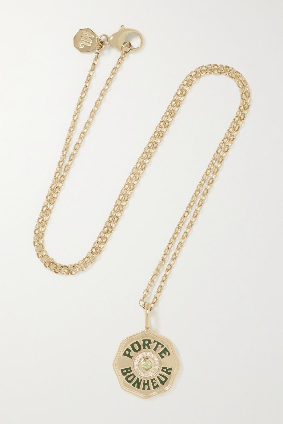 Marlo Laz Mini Porte Bonheur Coin 14-karat gold, enamel, peridot and diamond necklace