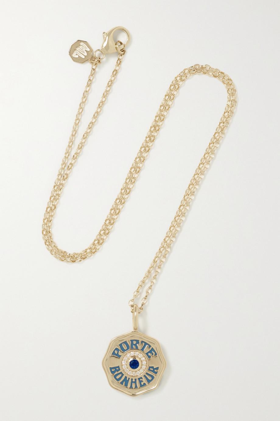 Marlo Laz Mini Porte Bonheur Coin 14-karat gold, enamel, sapphire and diamond necklace
