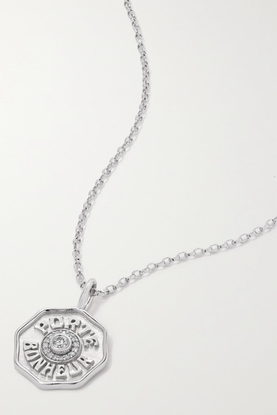 Marlo Laz Mini Porte Bonheur 14-karat white gold, enamel and diamond necklace