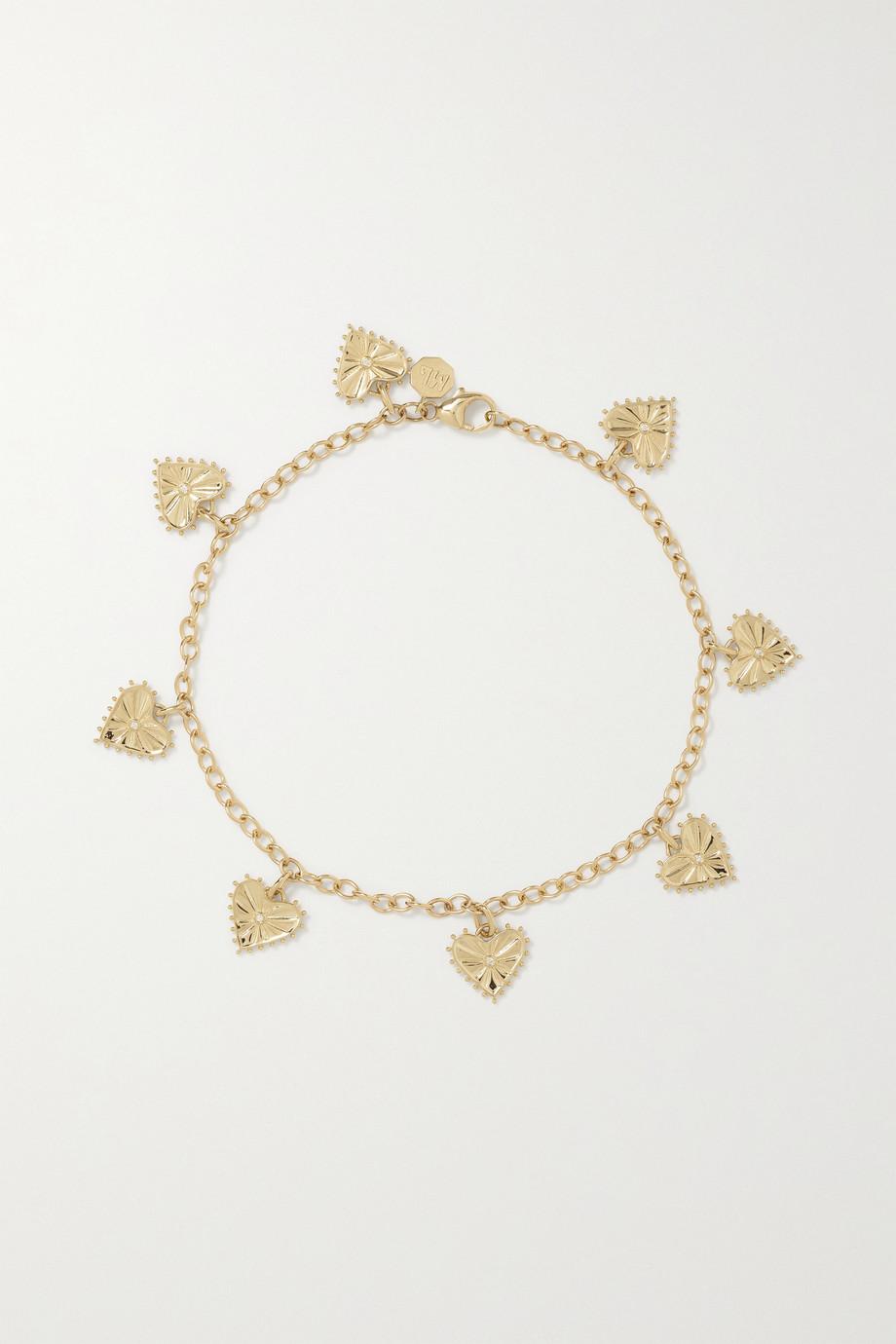 Marlo Laz Agape Fußkettchen aus 14 Karat Gold mit Diamanten