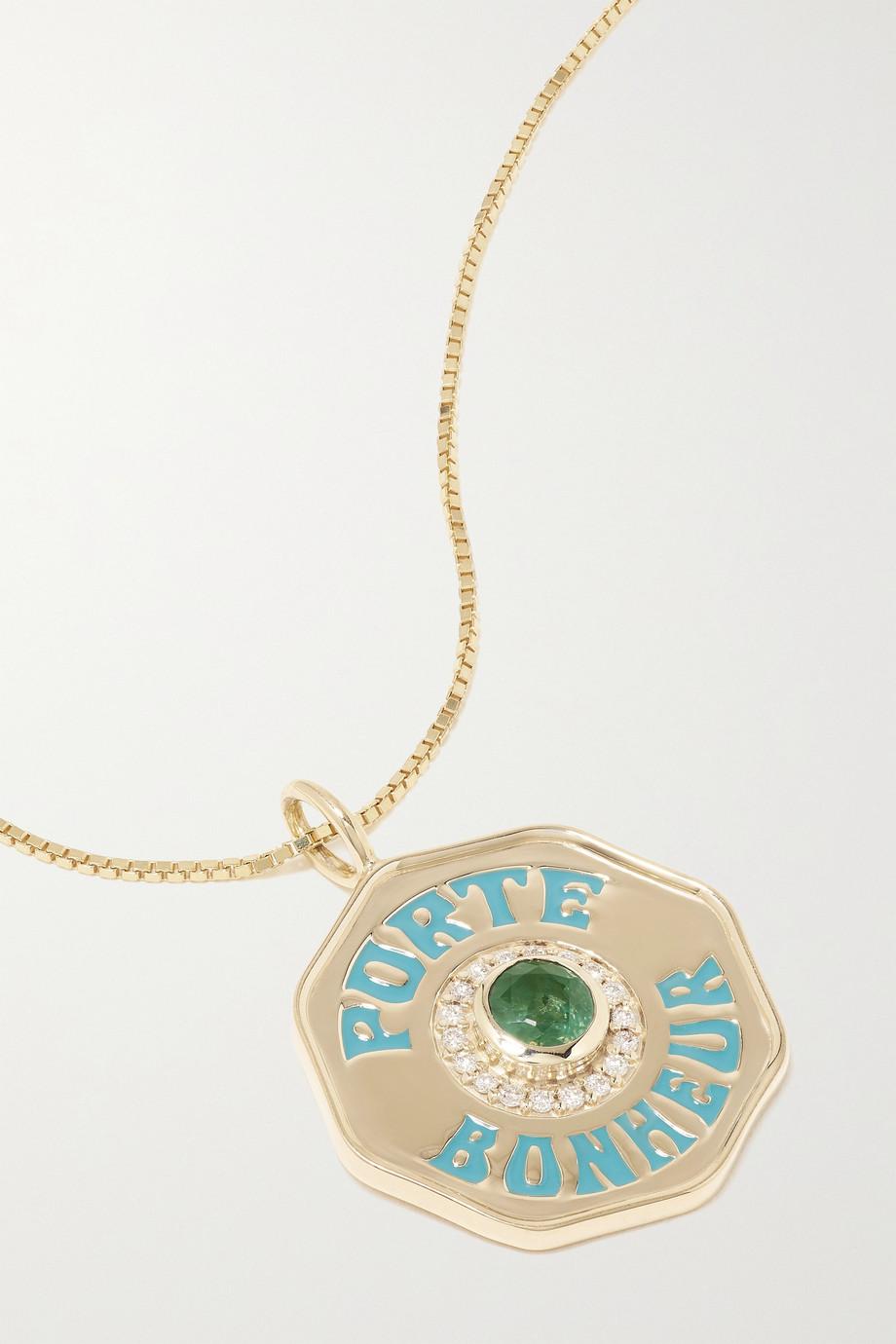 Marlo Laz Porte Bonheur Coin large 14-karat gold, enamel, alexandrite and diamond necklace