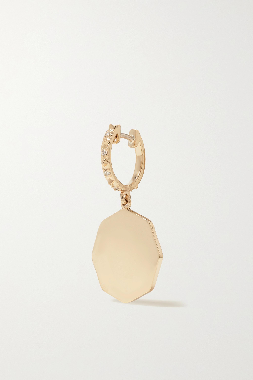 Marlo Laz Porte Bonheur Creolen aus 14 Karat Gold mit Emaille, Alexandriten und Diamanten