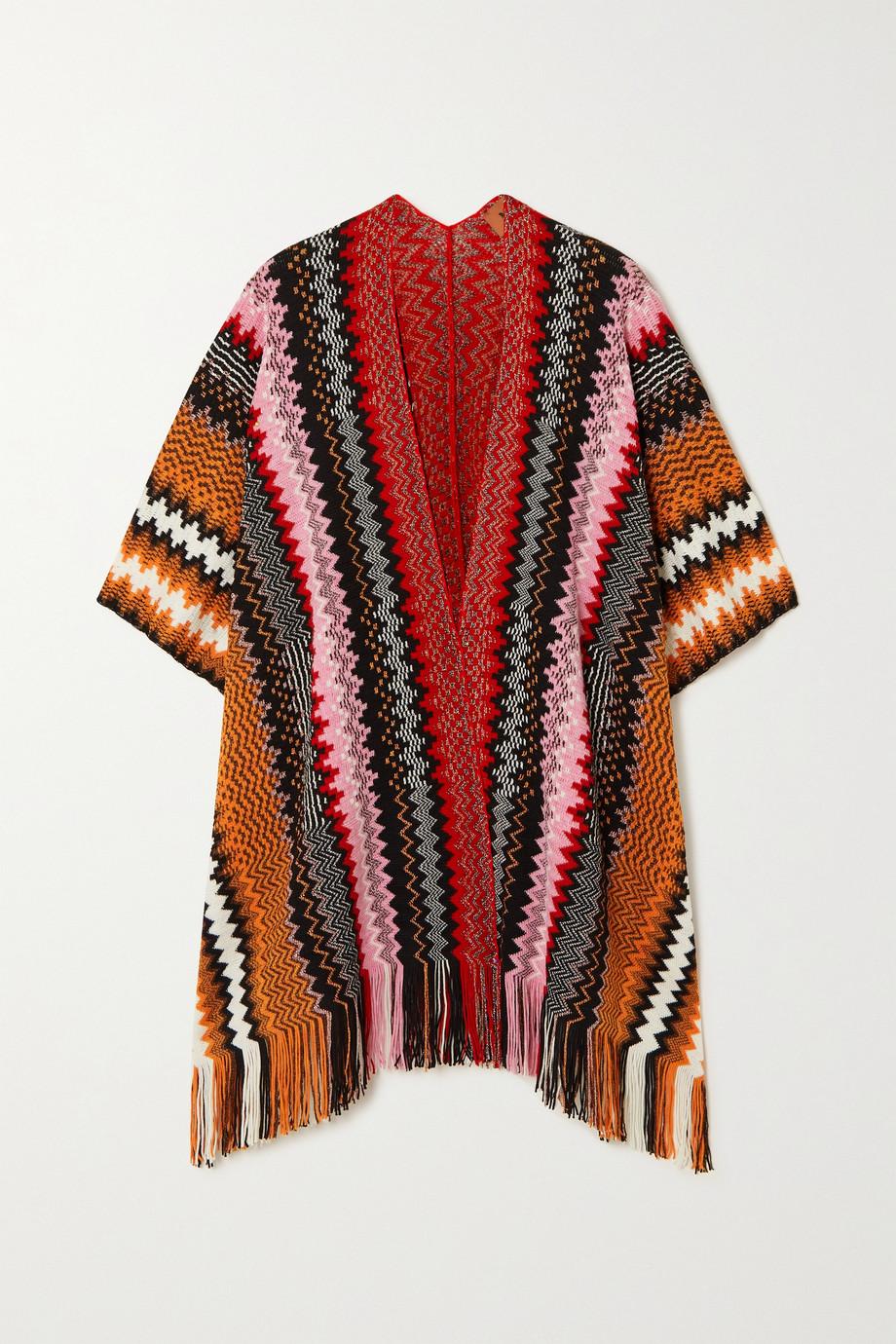 Missoni Fringed metallic crochet-knit wool-blend wrap