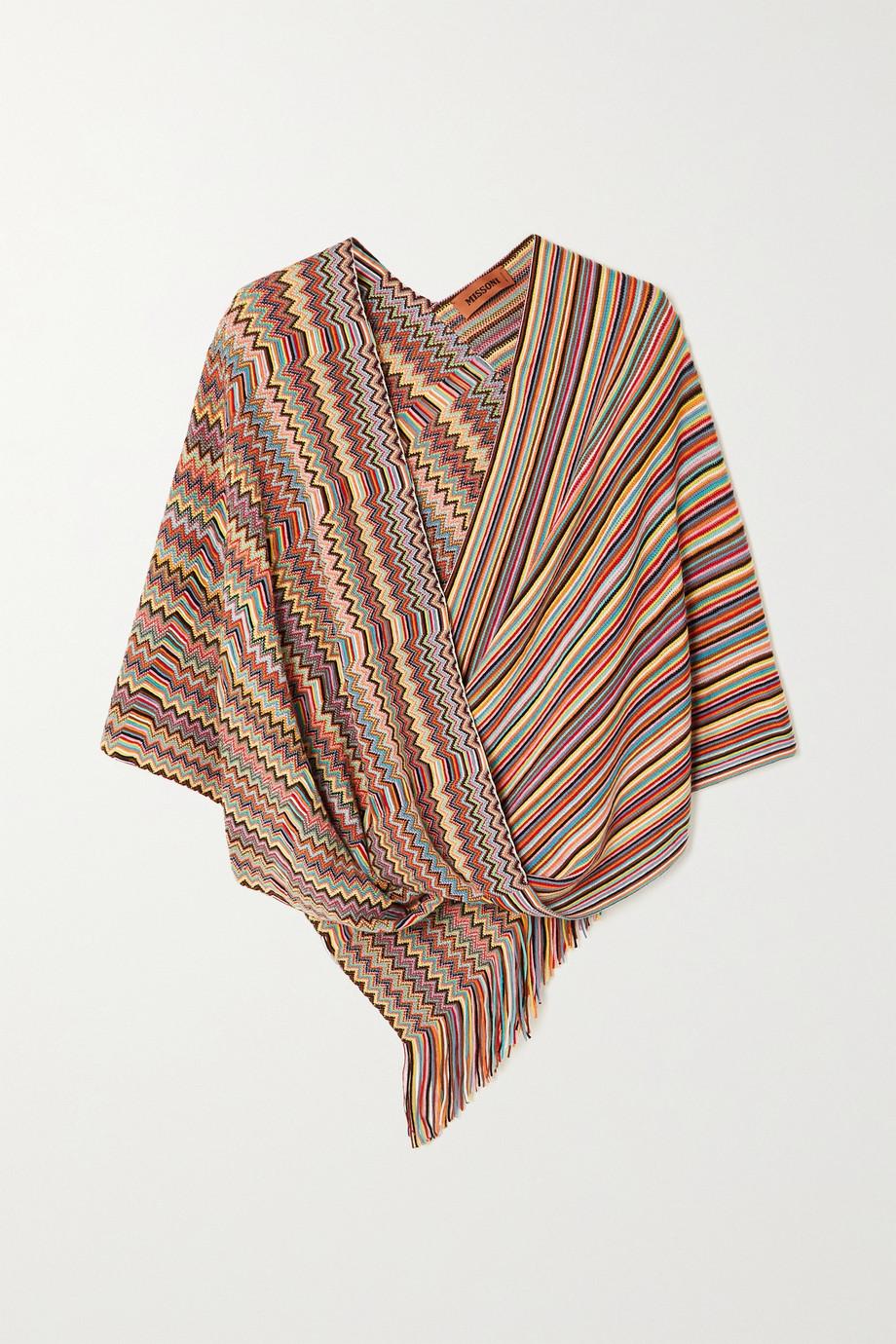Missoni Fringed wrap-effect crochet-knit wool poncho