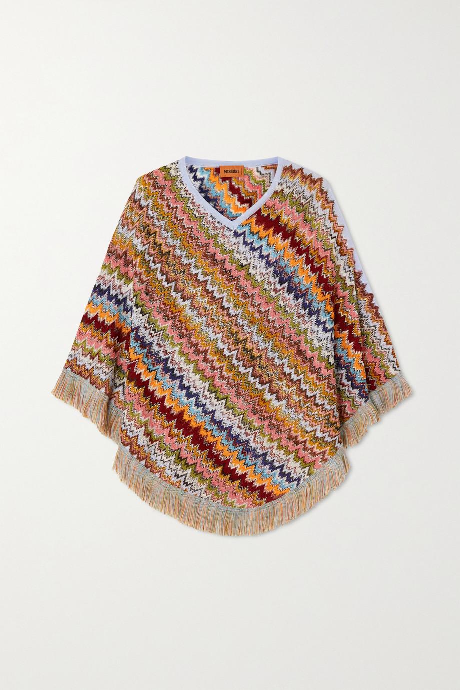 Missoni Fringed crochet-knit wool-blend poncho