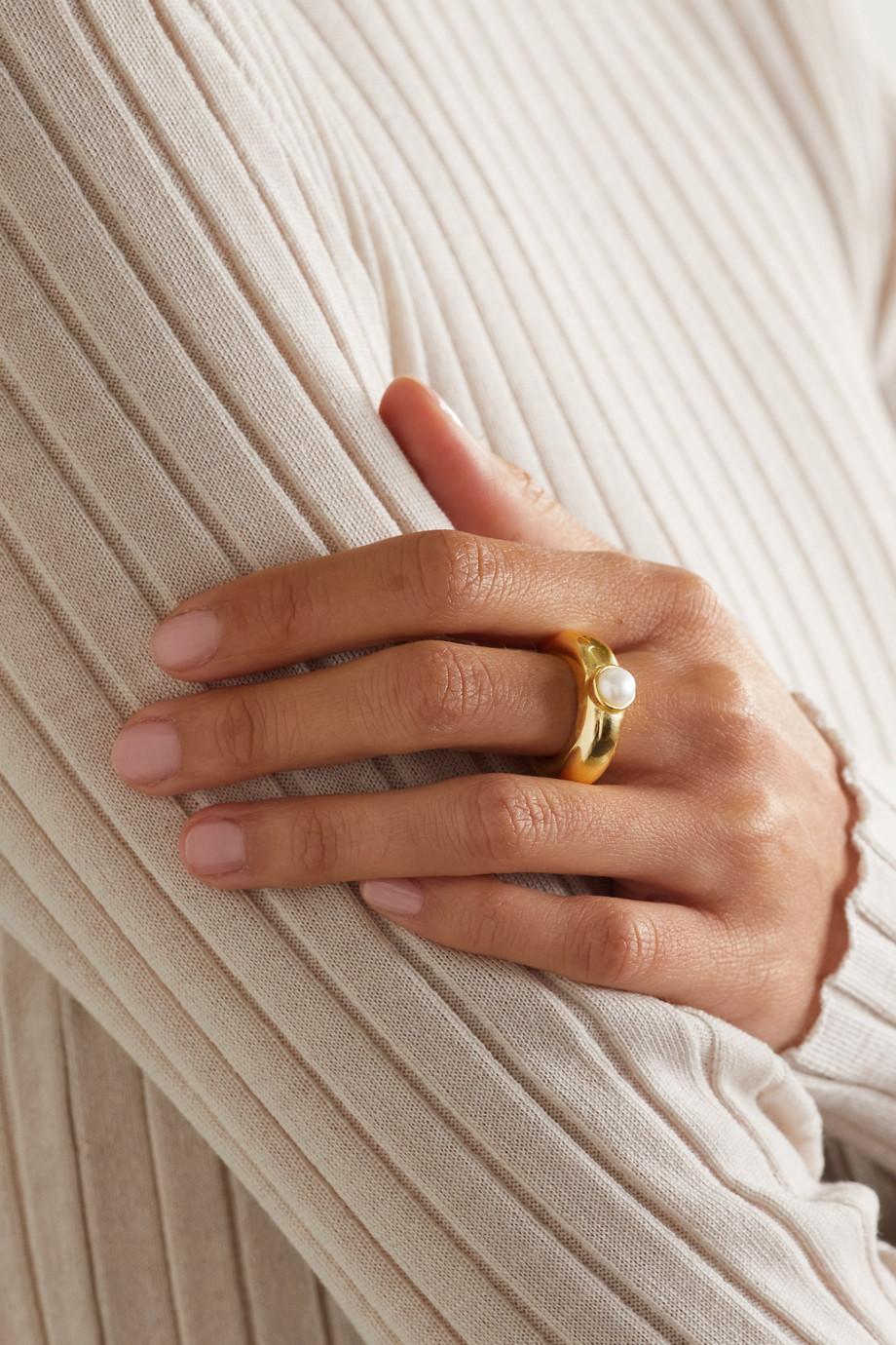 éliou Bague en plaqué or et perle Juliette