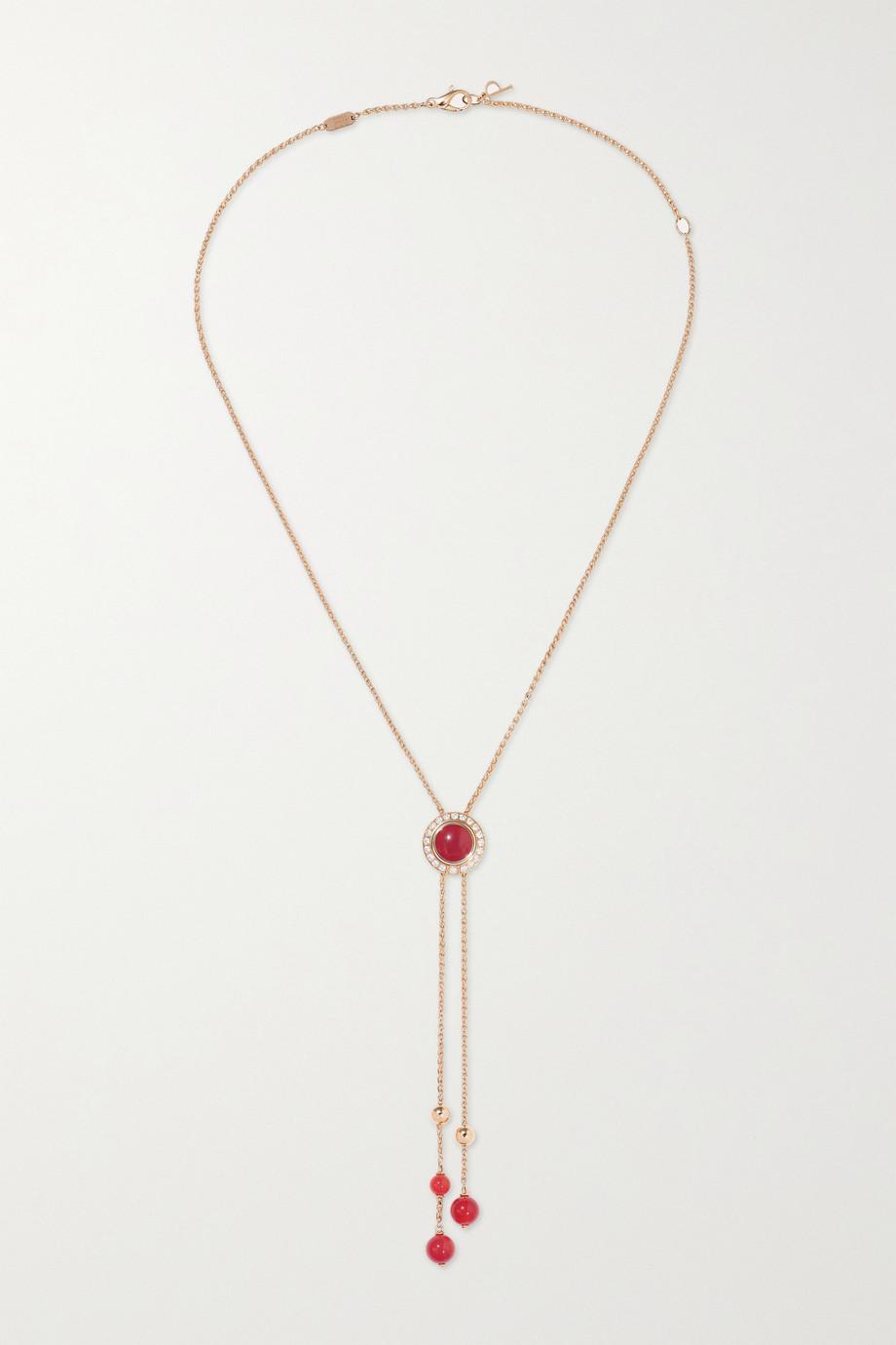 Piaget Collier en or rose 18 carats, cornalines et diamants Possession