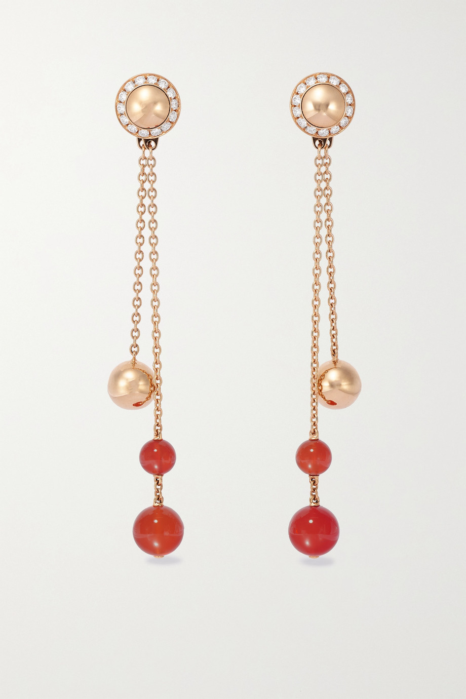 Piaget Boucles d'oreilles en or rose 18 carats, cornalines et diamants Possession