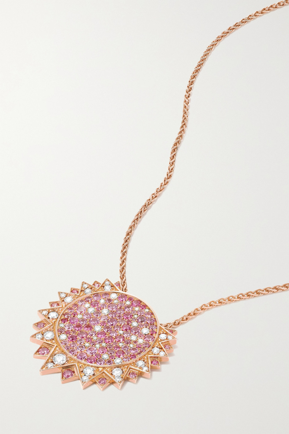 Piaget Sunlight 18-karat rose gold, sapphire and diamond necklace