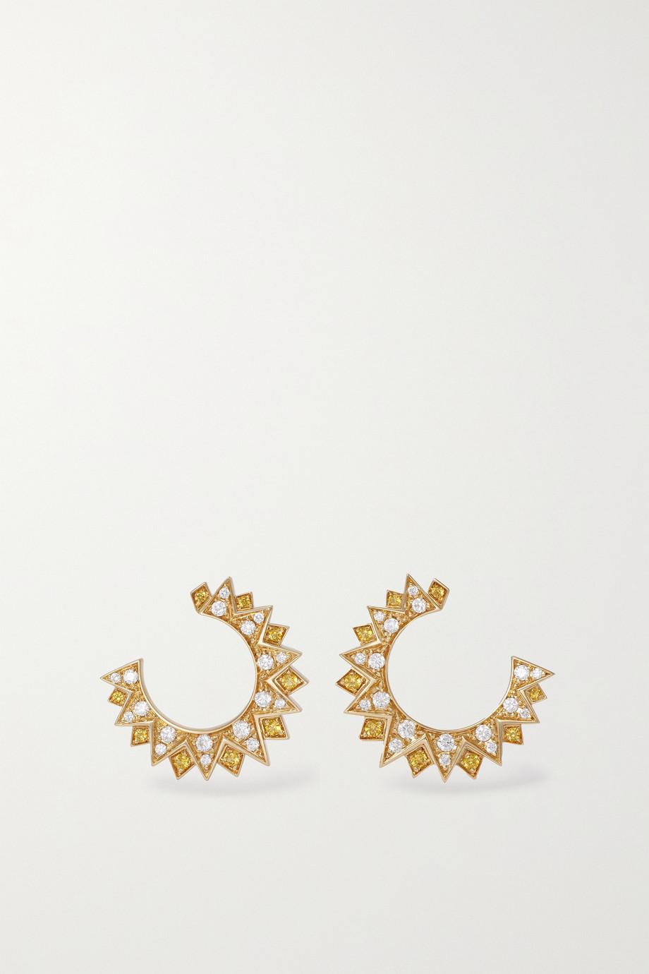 Piaget Sunlight Creolen aus 18 Karat Gold mit Diamanten und Saphiren