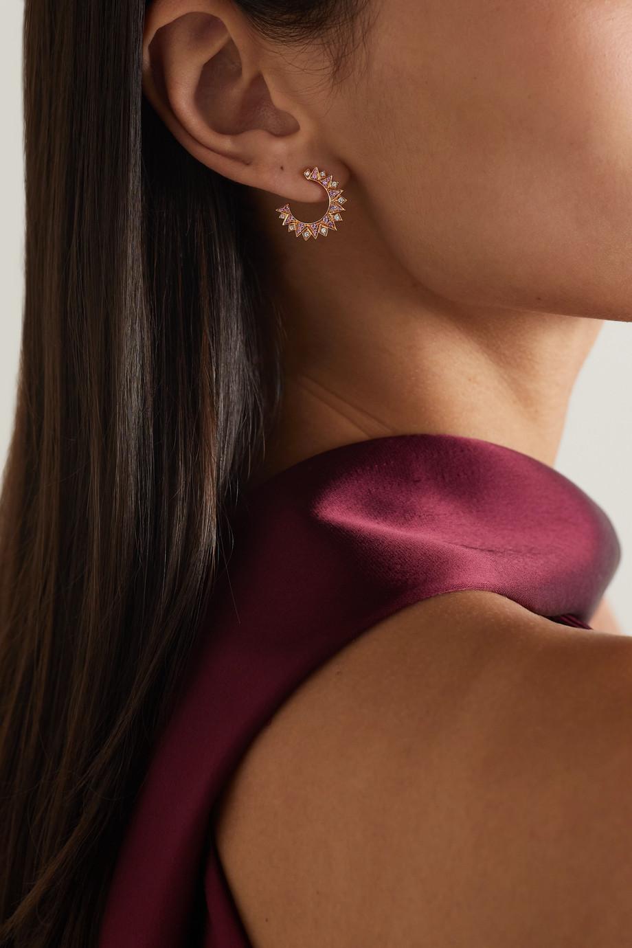 Piaget Sunlight 18-karat rose gold, sapphire and diamond earrings