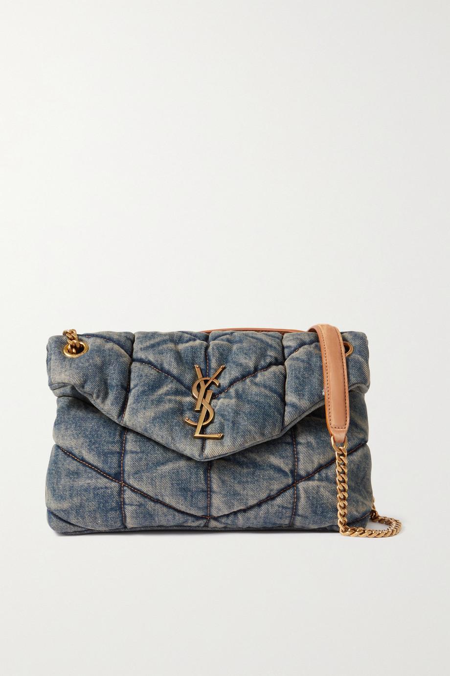 SAINT LAURENT Loulou Puffer small suede-trimmed quilted denim shoulder bag