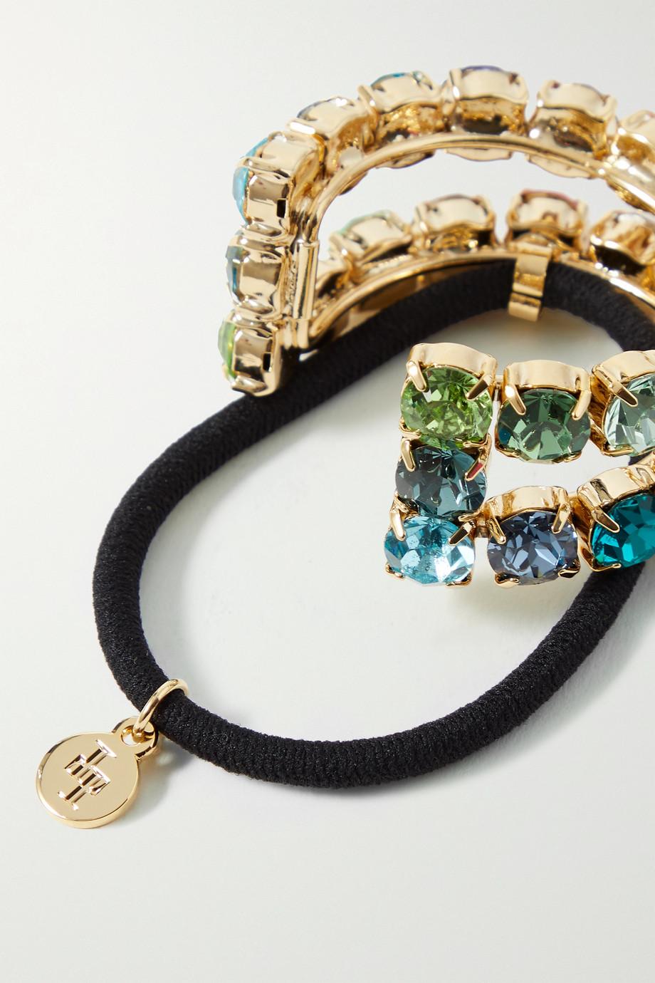 LELET NY Linear gold-tone Swarovski crystal hair tie
