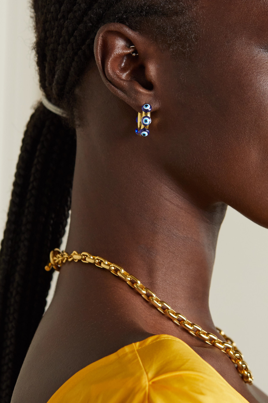 Timeless Pearly Gold-plated, pearl and glass hoop earrings