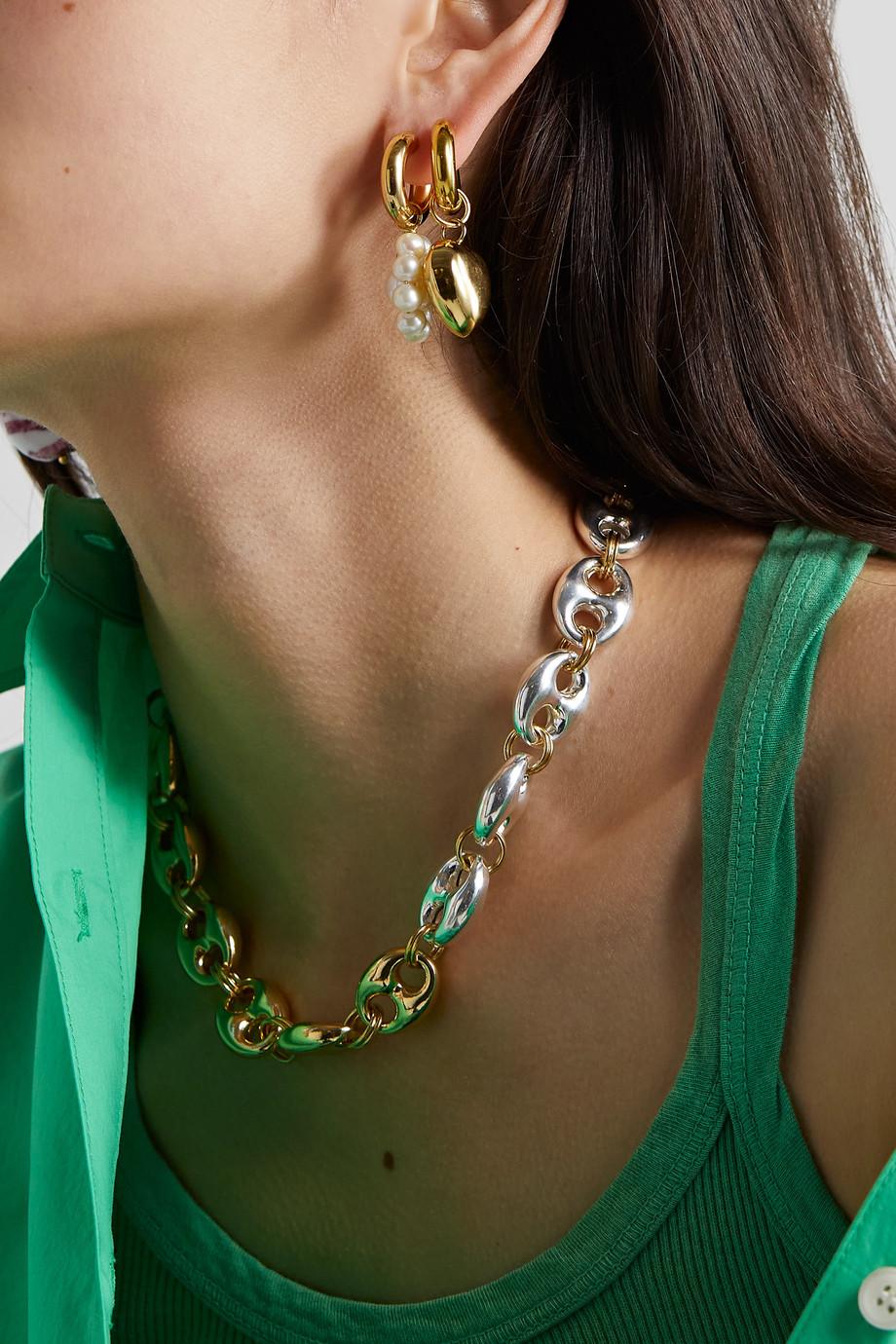 Timeless Pearly Vergoldete Creolen mit Perle und Glas