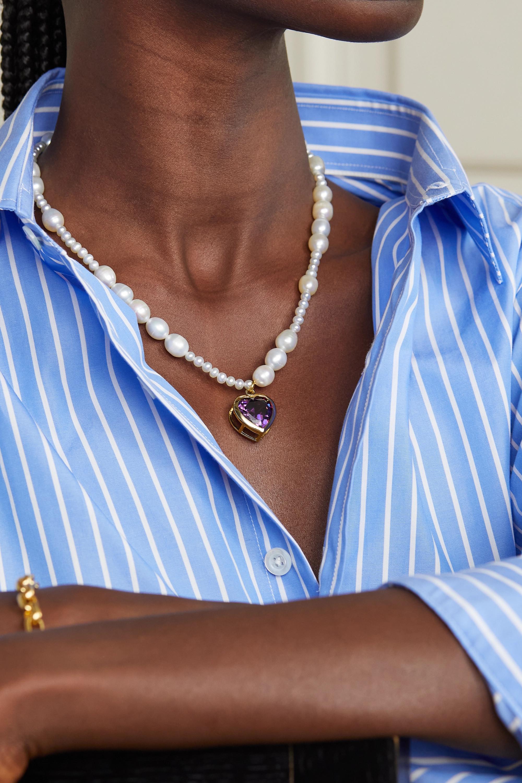 Timeless Pearly Kette mit Perlen, Kristall und vergoldeten Details