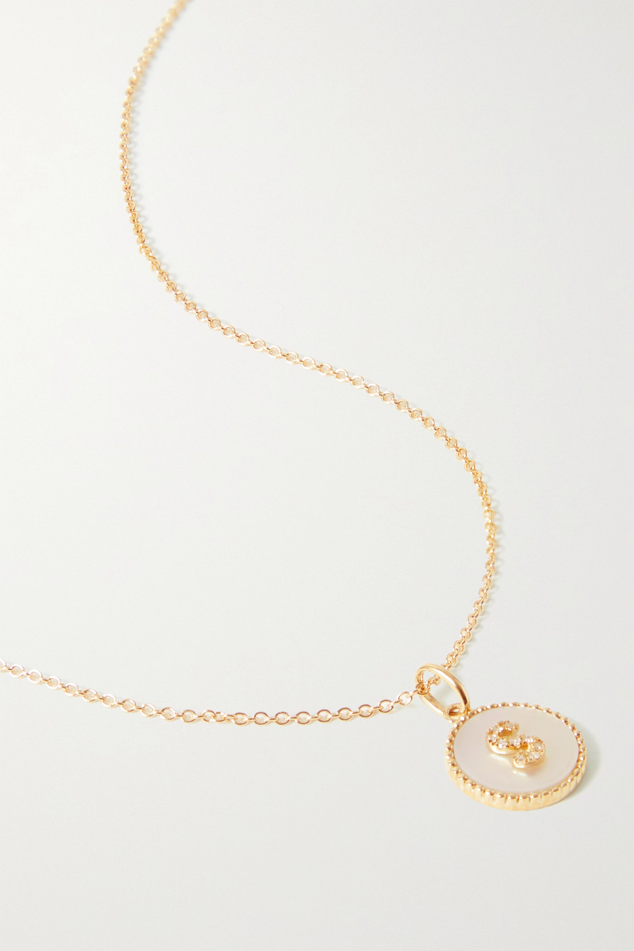 STONE AND STRAND Moonlight Pavé Initial 10-karat gold, mother-of-pearl and diamond necklace
