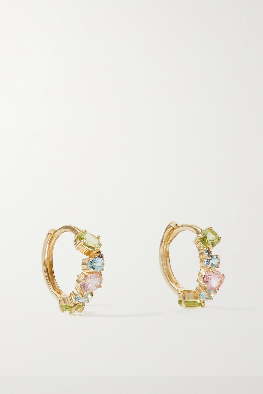 STONE AND STRAND Unicorn 10-karat gold multi-stone hoop earrings