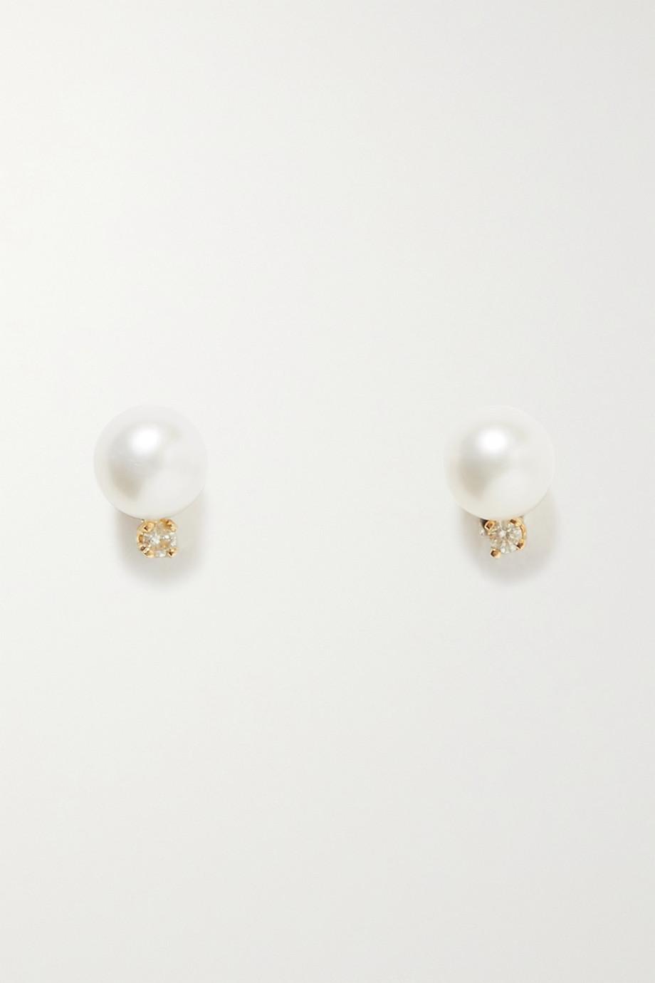 STONE AND STRAND Ohrstecker aus Gold mit Perlen und Diamanten