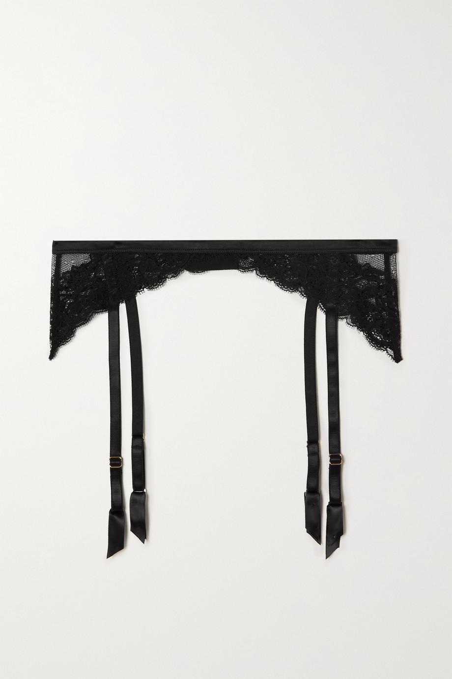 Coco de Mer Seraphine silk-blend satin-trimmed lace suspender belt