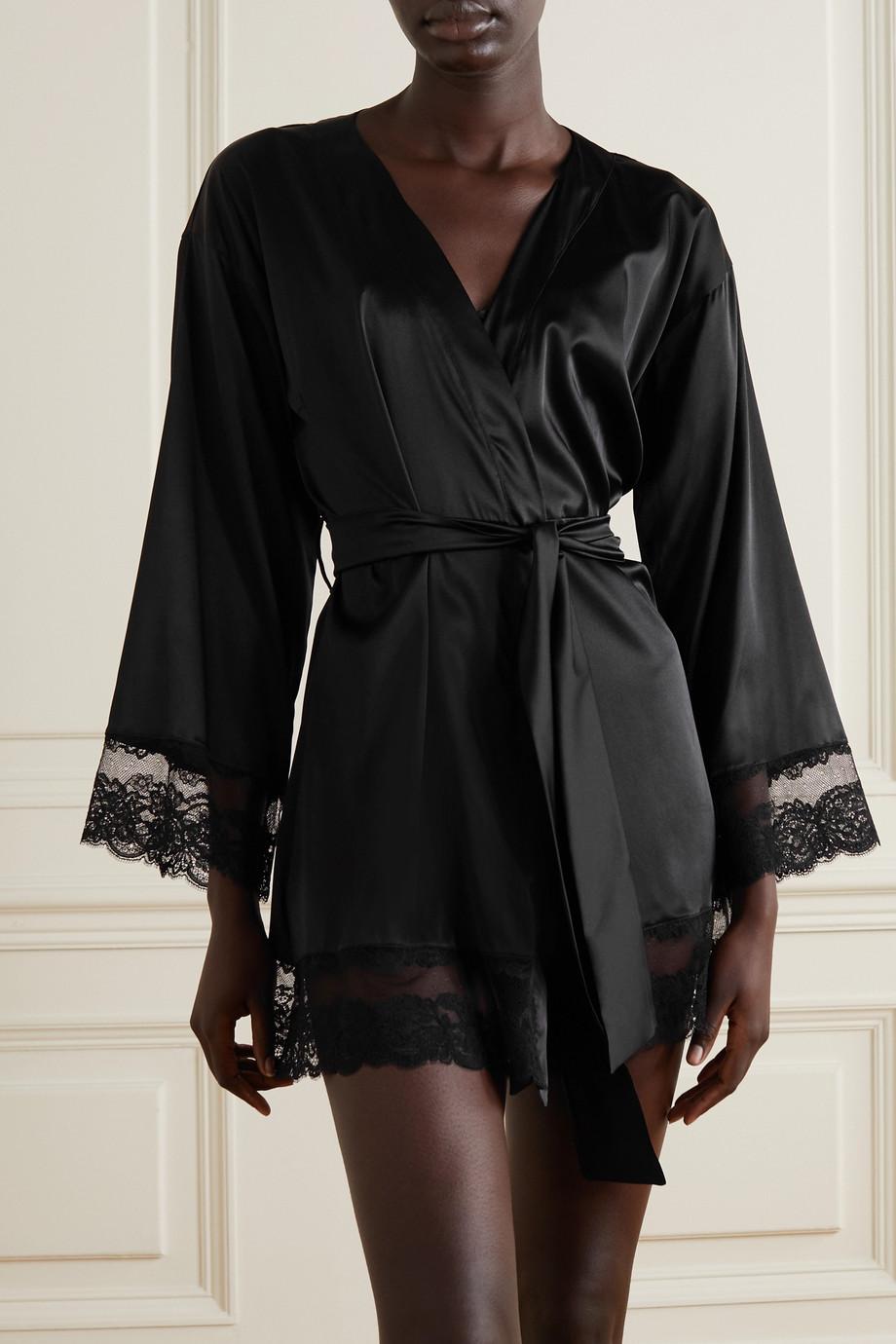Coco de Mer Seraphine lace-trimmed silk-blend satin robe