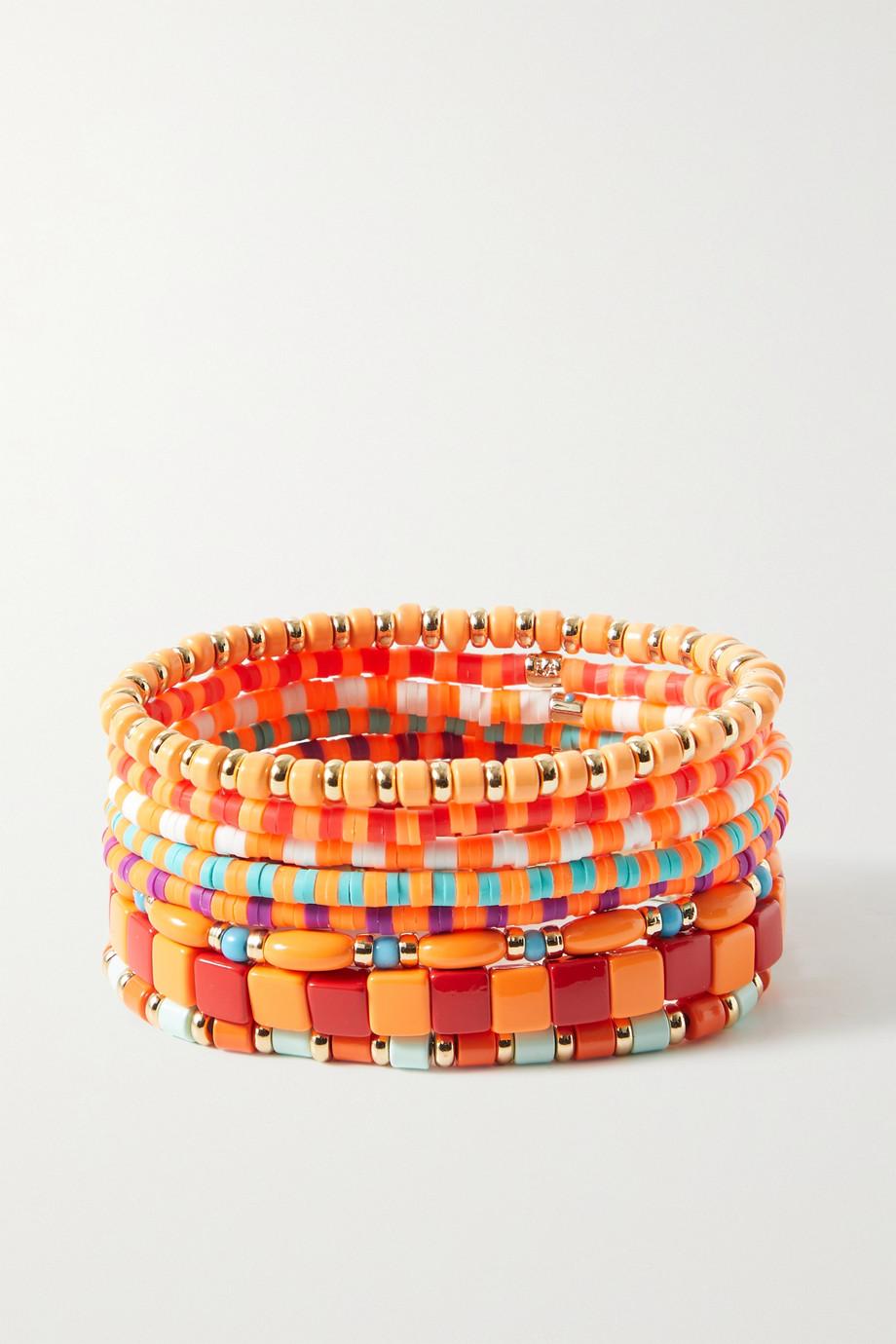 Roxanne Assoulin Set de huit bracelets en métal doré et émail Colour Therapy