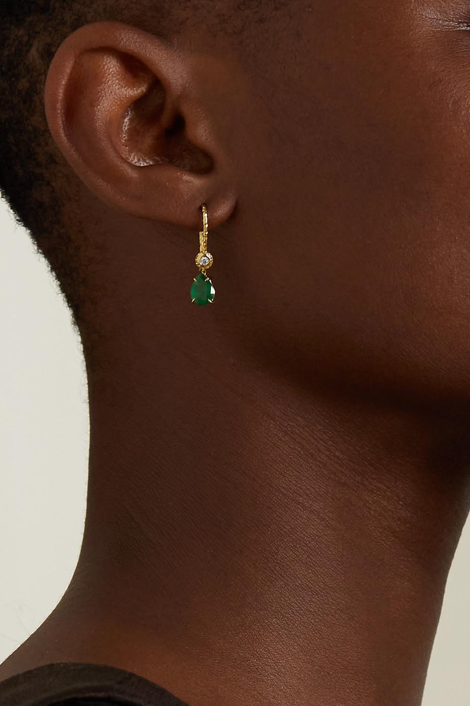 Octavia Elizabeth + NET SUSTAIN Lauren Ohrringe aus recyceltem 18 Karat Gold mit Smaragden und Diamanten
