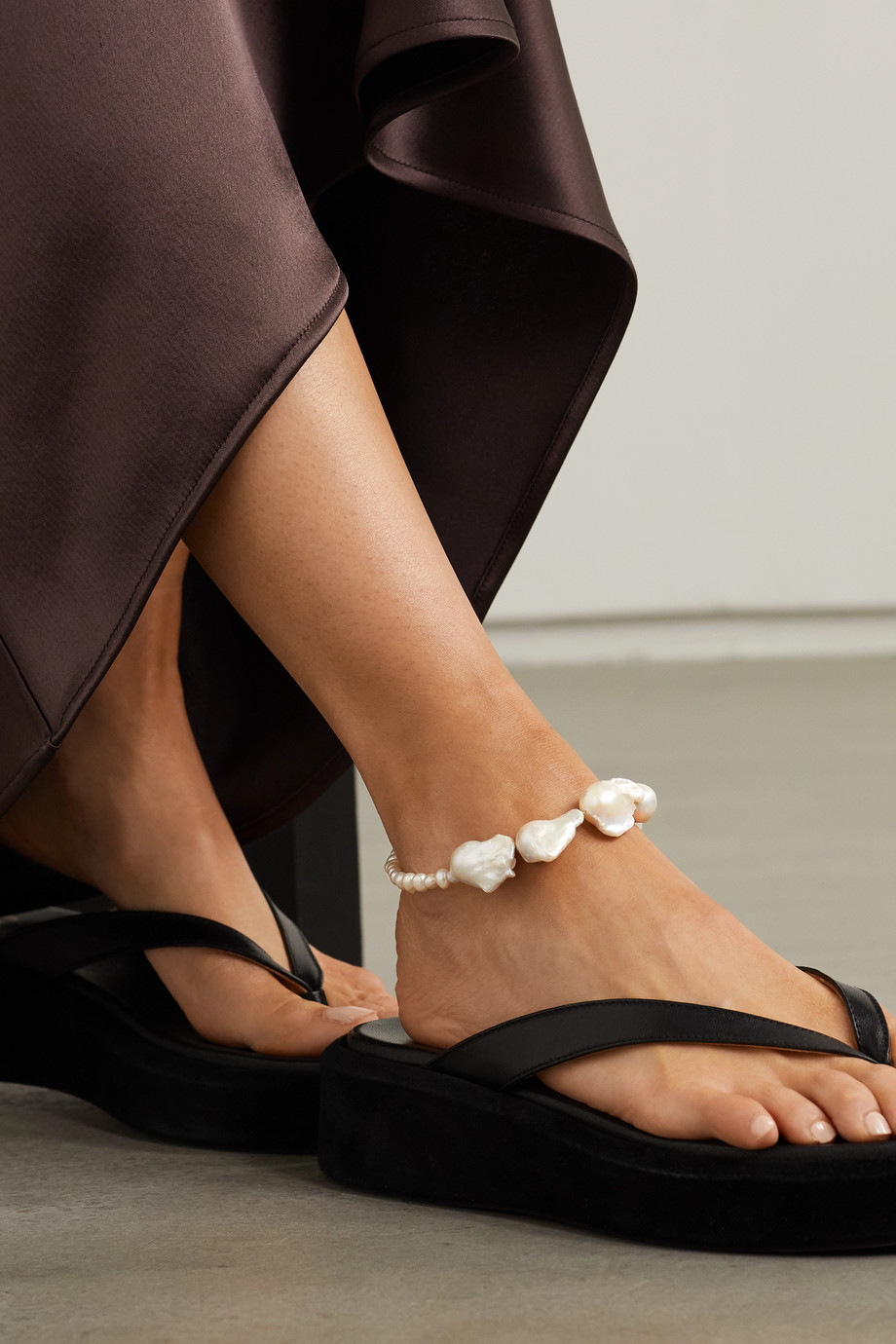 PEARL OCTOPUSS.Y Silver-plated pearl anklet