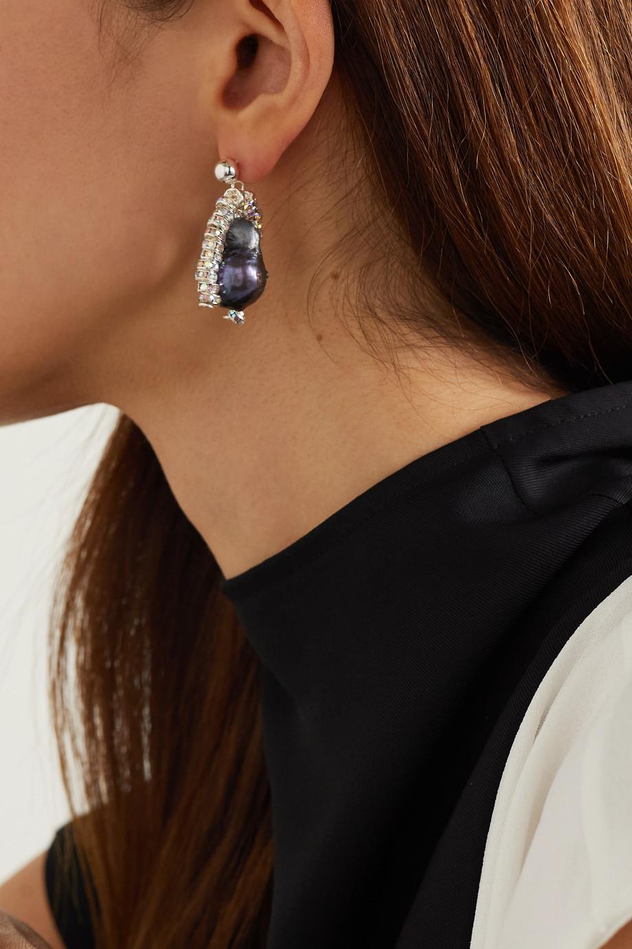 PEARL OCTOPUSS.Y Boucles d'oreilles en plaqué argent, perles et cristaux