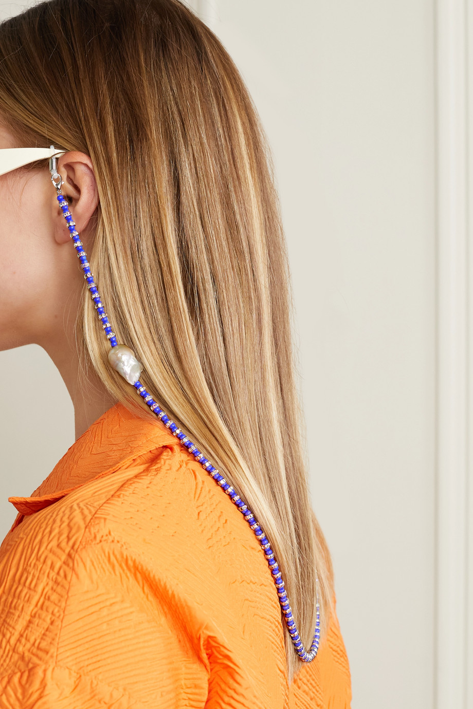 PEARL OCTOPUSS.Y Klein silver-plated multi-stone sunglasses chain