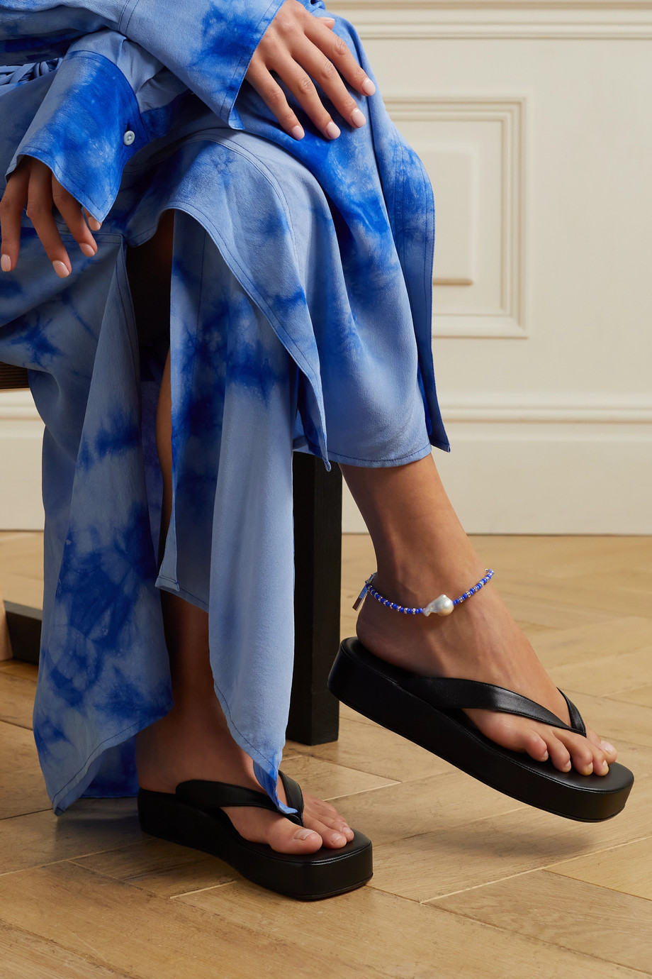PEARL OCTOPUSS.Y Klein silver-plated multi-stone anklet