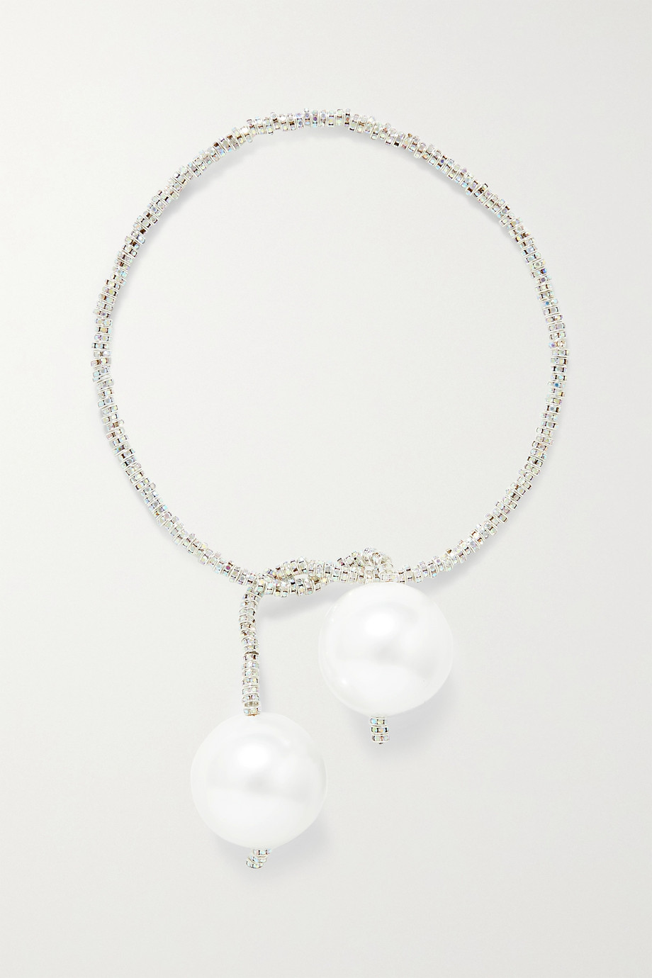 PEARL OCTOPUSS.Y Silver Snake convertible silver-plated, crystal and faux pearl necklace