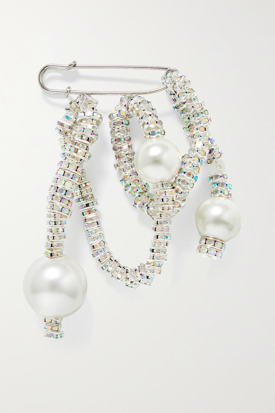 PEARL OCTOPUSS.Y Versilberte Brosche mit Kristallen und Kunstperlen