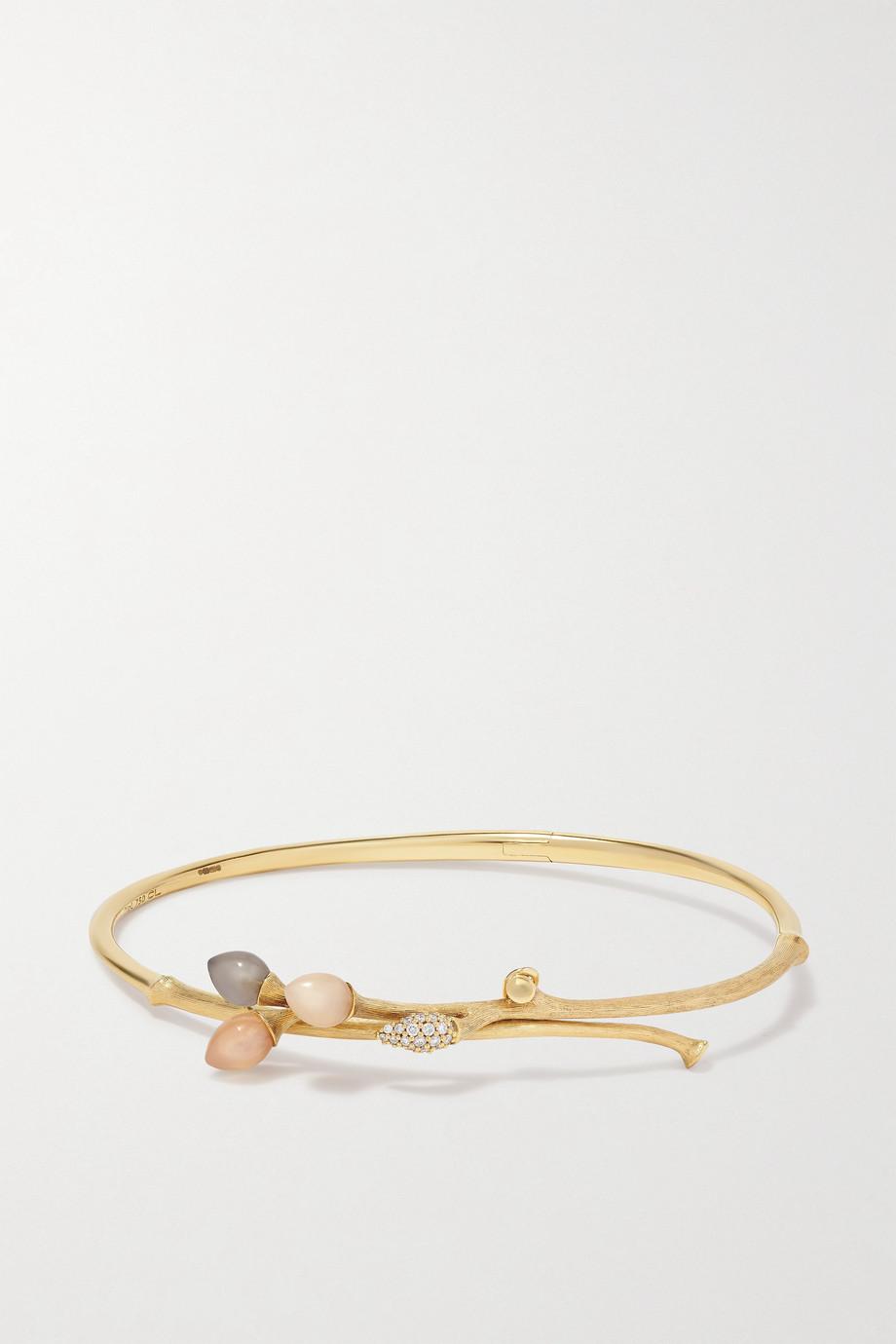 OLE LYNGGAARD COPENHAGEN Blooming Armreif aus 18 Karat Gold mit Mondsteinen und Diamanten