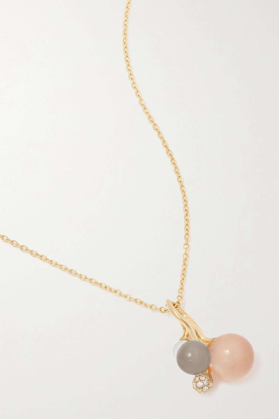 OLE LYNGGAARD COPENHAGEN Kette aus 18 Karat Gold mit mehreren Steinen