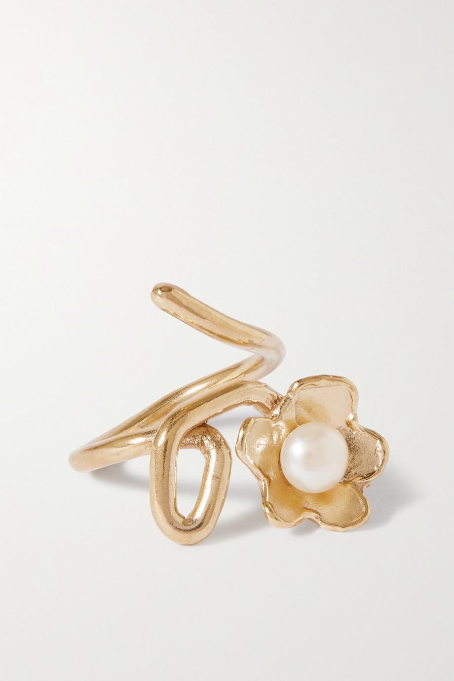 Anita Berisha Bague en plaqué or et perle Daisy Crawler