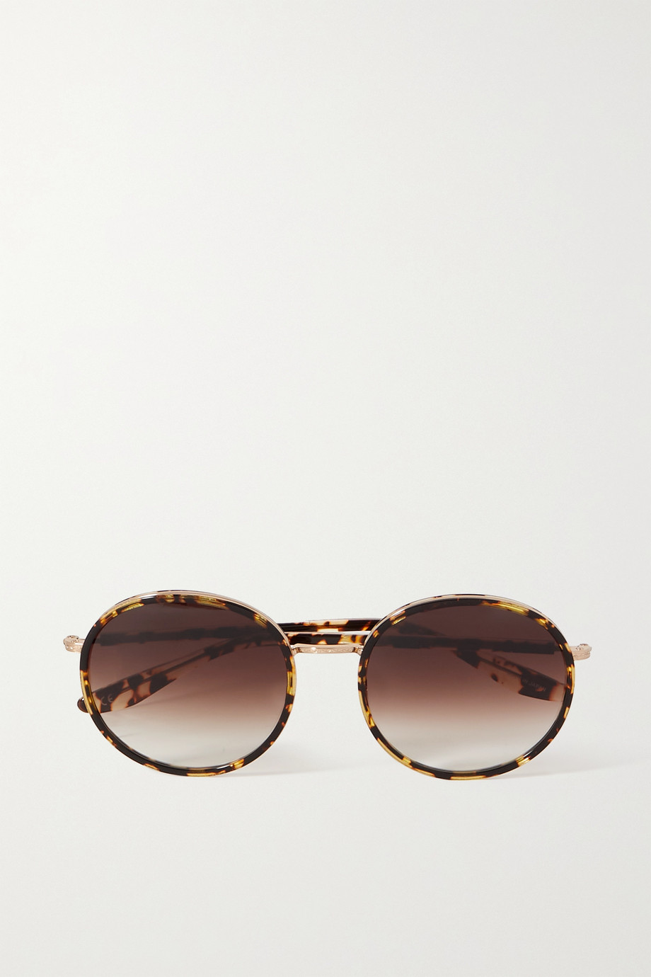unknown Amorfati round-frame tortoiseshell acetate and gold-tone sunglasses