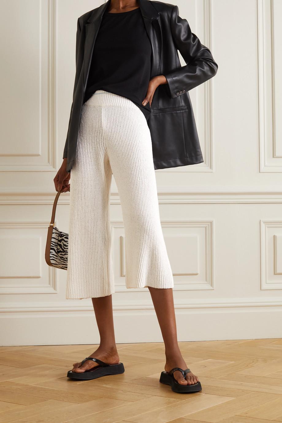 rag & bone Sunny cropped ribbed organic cotton-blend wide-leg pants