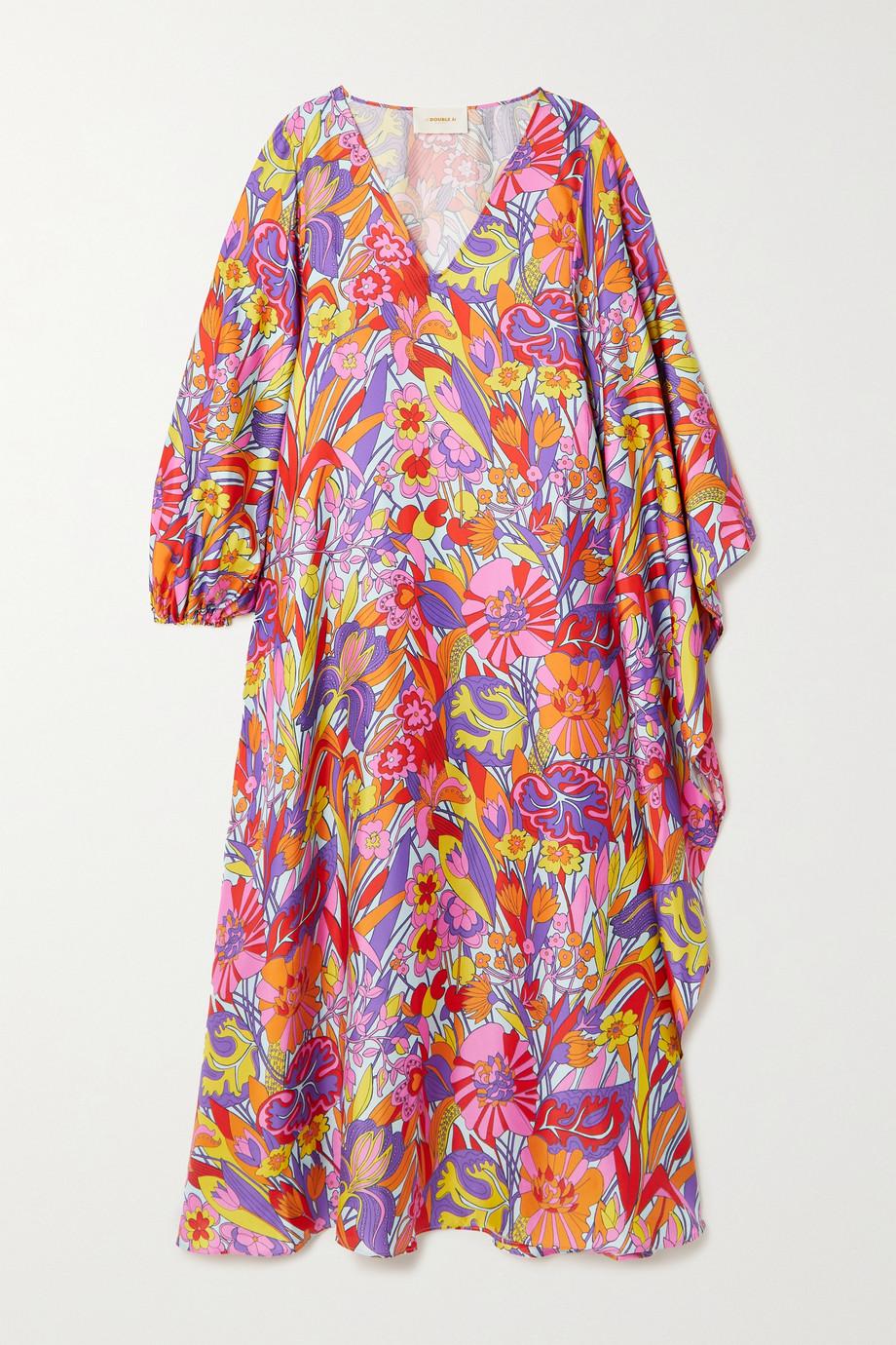 La DoubleJ Robe longue asymétrique en serge de soie à imprimé fleuri Opera